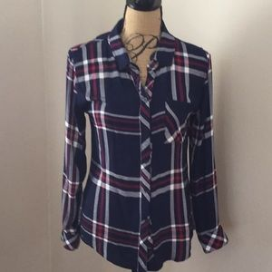 Rails navy plaid button down shirt size S 0801
